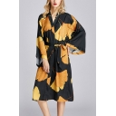 Popular Womens All over Leaf Print Bow Tie Waist Surplice Neck Bell Long Sleeve Oversize Midi Wrap Nightdress in Black