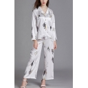 Casual Ladies Plant Printed Button Up Chest Pocket Lapel Full Sleeve Regular Fit Shirt & Ankle Length Wide-Leg Pants Pajama Set in White
