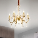 Candle Parlor Chandelier Lighting Metal 6 Heads Minimalism Ceiling Lamp with Crystal Bead and Bobeche in Gold