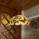 Brass 3 Heads Pendant Lamp Baroque Stained Glass Scalloped Chandelier Light Fixture with Flower and Butterfly Pattern