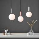 Macaron Globe Hanging Ceiling Lamp Opaline Glass 1 Light Balcony Suspension Pendant in Black/White/Pink