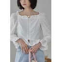 Vintage Square Neck Long Sleeve Hollow Out Detail Button Front Crop Blouse