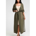 Summer Hot Popular Simple Plain Lapel Collar Long Sleeve Tied Waist Sun Protection Longline Chiffon Cardigan Coat