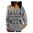 Hot Fashion THIS GIRL LOVES HALLOWEEN WITCHES Letter Printed One Shoulder Long Sleeve Gray Sweatshirt
