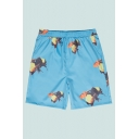 Mens Shorts Unique Bee Pattern Knee-Length Regular Fitted Drawstring Waist Relaxed Shorts