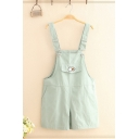 Dressy Ladies Overalls Duck Embroidery Pocket Button Regular Fit Short Overalls