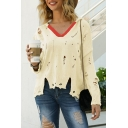 Cool Womens Contrast Trim Ripped Detail V Neck Dolman Long Sleeve Oversize Pullover Sweater Knitted Top