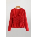 Elegant Ladies Red Long Sleeve Deep V-neck Ruched Ruffled Hem Relaxed Fit Blouse Top