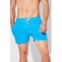 Athletic Solid Color Drawstring Waist Pocket Mid Rise Regular Fit Track Shorts for Men