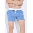 Leisure Color Block Tape Drawstring Waist Pocket Slim Track Shorts for Men