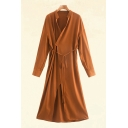 Popular Orange Long Sleeve Surplice Neck Bow Tied Waist Maxi A-line Wrap Dress for Ladies