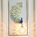 Green/Gold Peacock Wall Sconce Lighting Rural Resin 1 Light Dining Room Right/Left Wall Light Fixture with Global Crystal Shade