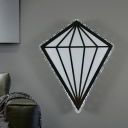 Modernist Diamond Wall Sconce White Acrylic LED Bedroom Wall Mount Lighting in Warm Light with Clear Crystal Edge