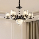 Drum Chandelier Pendant Light Simplicity Clear Crystal 6 Lights Bedroom Ceiling Lamp in Black