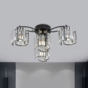Spiral Round Semi Mount Light Contemporary Clear Crystal 4/6-Light Bedroom Ceiling Lamp in Black