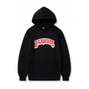 Hot Letter BACKWOODS Print Long Sleeve Black Oversized Drawstring Hoodie with Pock