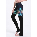 Womens 3D Fancy Leggings Floral Leaf Pattern High Rise Skinny Fit Full Stirrup Leggings