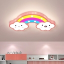 Rainbow Kindergarten LED Flushmount Acrylic Cartoon Ceiling Flush Mount Lamp in White/Pink/Blue with Hollowed Out Design