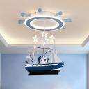 Draped Sailing Vessel Metal Flush Mount Kids Blue LED Ceiling Light Fixture with Glow Rudder Canopy