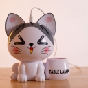 Comic Cat/Kitten/Husky Dog USB Table Lamp Cartoon ABS Black/White/Orange LED Nightstand Light with Pencil Holder and Money Bank
