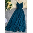 Fashion Womens Plain Bow Tie Waist Back Sleeveless V Neck Long Cami Dress