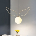 Globe Hanging Pendant Light Kids Opal Glass 1-Bulb Bedroom Ceiling Lamp in Gold with Wing/Star/Loving Heart Frame