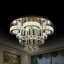 Blossom Crystal Ceiling Mount Light Modernist Chrome LED Semi Flush Mount for Bedroom