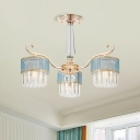 Modern 3 Bulbs Ceiling Chandelier Gold Cylinder Suspension Pendant with Tri-Sided Crystal Rod Shade