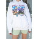 Fancy Letter CHILL SINCE Printed Long Sleeve Oversized White Graphic Hoodie