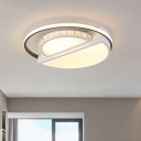 Modernist Circle Flush Ceiling Light Crystal LED Bedroom Flush-Mount in White with Acrylic Shade