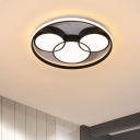 Mickey Flush Light Fixture Modern Acrylic LED Bedroom Close to Ceiling Lamp in Black with Circle Frame