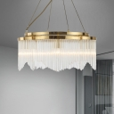 Simple 5 Bulbs Pendant Chandelier Gold Circle Ceiling Hang Fixture with Beveled Crystal Shade