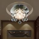 Circular Semi Flush Light Modernist Crystal Orbs LED Chrome Ceiling Mounted Fixture
