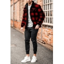 Mens Simple Red and Black Plaid Printed Long Sleeve Single Breasted Woven Loose Jacket Coat