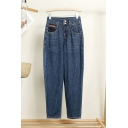 Basic Womens Jeans Zipper Fly Loose Fit Full Length Tapered Jeans with Washing Effect