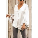 Boutique Womens Solid Color Pleated Cuvred Hem V Neck Long Puff Sleeve Loose Fitted Shirt