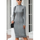 Chic Ladies Plain Long Sleeve Scalloped Mock Neck Button Up Knitted Midi Bodycon Sweater Dress in Gray