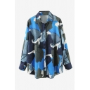 Trendy Womens Color Block Button Down Turn-down Collar Long Sleeve Loose Fit Shirt in Blue