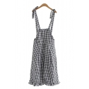 Cozy Girls Overalls Checked Pattern Bow Stringy Selvedge Pleated Pocket Cropped Length Overalls