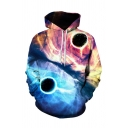 Cool Mens 3D Hooded Sweatshirt Color Block Balls Pattern Drawstring Full Sleeve Fitted Hoodie with Pocket