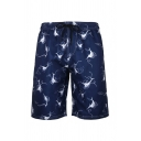 Popular Mens All Over Cartoon Pattern Drawstring Waist Knee length Straight Shorts