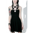Womens Gothic Punk Moon Pattern Pentagram Hollow-Out Front Sleeveless Mini A-Line Black Dress