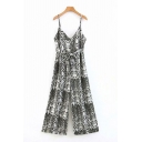 Womens Jumpsuits Chic Snakeskin Print Bow-Knot Waist Wide Leg Sleeveless Spaghetti Strap Loose Fitted Jumpsuits