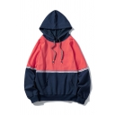 Cool Mens Hoodie Contrasted Tape Decoration Cuffed Drawstring Long Sleeve Relaxed Fitted Hoodie