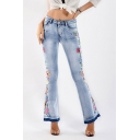 Basic Womens Jeans Light Wash Floral Embroidered Mid Waist Zipper Fly Ankle Length Regular Fit Flare Jeans