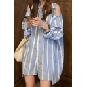 Chic Womens Striped Printed Cold Shoulder Chest Pocket Button Up Turn-down Collar Long Sleeve Loose Fit Tunic Shirt in Blue