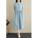 Trendy Womens Jacquard Short Sleeve Crew Neck Button Up Drawstring Waist Linen and Cotton Mid Pleated Swing Henley Dress