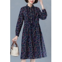 Ladies Liesure Linen and Cotton Ditsy Flower Printed Long Sleeve Turn Down Collar Button Up Ruched Mid Swing Shirt Dress in Navy