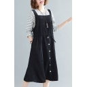 Leisure Womens Solid Color Corduroy Square Neck Drawstring Waist Button Up Mid Swing Suspender Dress