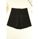 Basic Womens Shorts Rhinestone Decoration Stretch High Rise Zipper Fly Wide Leg Regular Fitted Relaxed Shorts